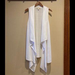 Michael Kors long white drape vest